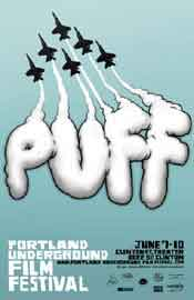Film festival poster featuring jet trails spelling PUFF