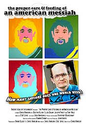 Movie poster featuring Andy Warhol style drawings of Jesus and another messiah