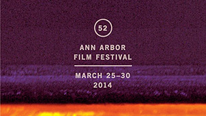 Logo for 52nd annual Ann Arbor Film Festival that features purple static