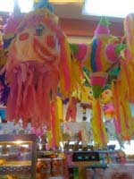 Pinatas hanging from the ceiling