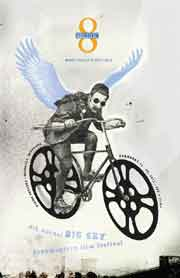 Film festival poster featuring a man with wings riding a bike with movie reels as wheels