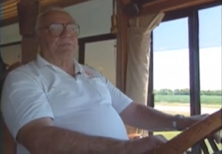Ernest Borgnine drives his massive bus