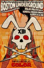 Film festival poster featuring a bunny skull and a sexy woman