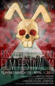 Film festival poster that features a glittery rabbit skull