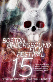 Poster for 15th annual Boston Underground Film Festival featuring a sparkly bunny skull