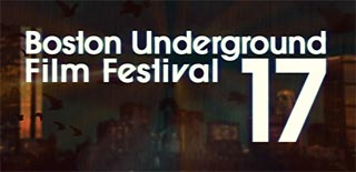 Text logo of the Boston Underground Film Festival over the Boston skyline