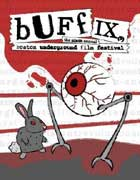 Boston Underground Film Festival poster featuring a bunny fighting a giant eyeball