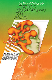 Poster for 20th Chicago Underground Film Festival featuring a trippy face portrait