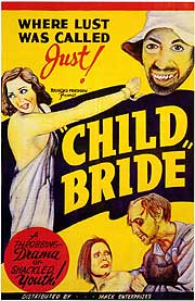 Poster for movie Child Bride featuring drawings of actors