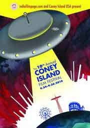 Film festival poster featuring a UFO blasting Coney Island