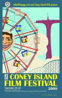 Film festival poster featuring drawings of Coney Island attractions