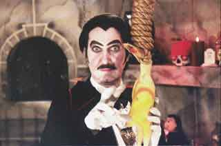 Count Gore De Vol with hanging rubber chicken