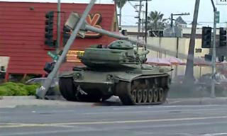 Tank on a rampage through San Diego