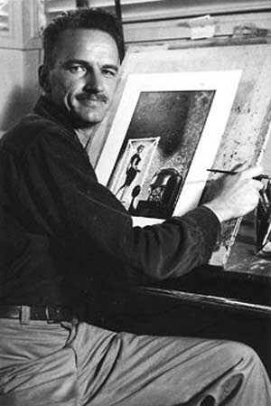 Portrait of filmmaker and illustrator Ed Emswiller at a drawing board