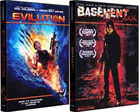 DVD covers for the horror movies Evilution and Basement Jack
