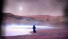 Man walking on a purple alien planet