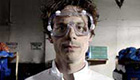 Nerdy scientist wearing goggles