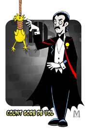 Cartoon drawing of Count Gore De Vol with a rubber chicken in a noose