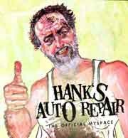 Painting of a grimy auto mechanic giving a thumbs up