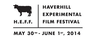 Cow and text logo for the Haverhill Experimental Film Festival