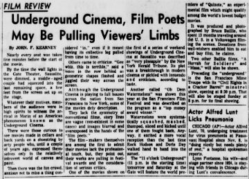 Newspaper film review from 1965