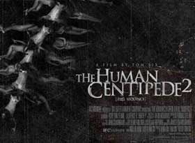 Movie poster featuring a human spine distorted to look like a centipede