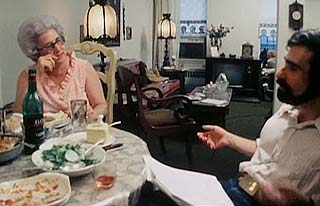 Martin Scorsese sitting at a table with his mother