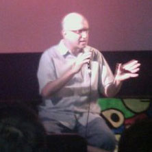 Jeff Krulik talking at a screening of Heavy Metal Parking Lot