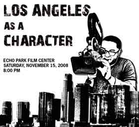 Illustration of a filmmaker looming over the Los Angeles skyline