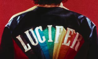 Jacket with Lucifer written on it