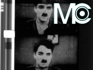 Film stills of Charlie Chaplin with Media City logo