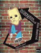 Milwaukee Underground Film Festival poster featuring a drawing of a breakdancing boy against a brick wall