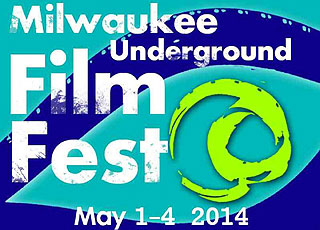 Abstract blue and green logo for the Milwaukee Underground Film Festival