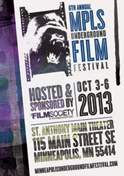 Poster with roaring gorilla promoting the Minneapolis Underground Film Festival