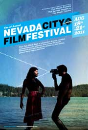 2011 Nevada City Film Festival poster featuring a man shooting a film of a woman