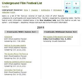 Screenshot of a list of film festivals