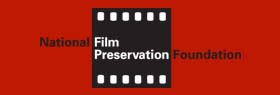 Text logo for the National Film Preservation Foundation that includes a celluloid film still