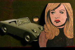 Comic book woman with automobile