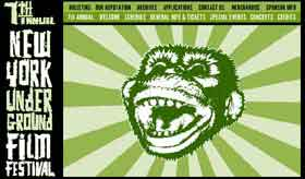 Film festival logo featuring a screaming monkey on a green sunburst background