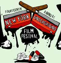 New York Underground Film Festival poster featuring drawings of bloody meat cleavers and drugs