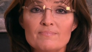 Extreme close-up of Sarah Palin