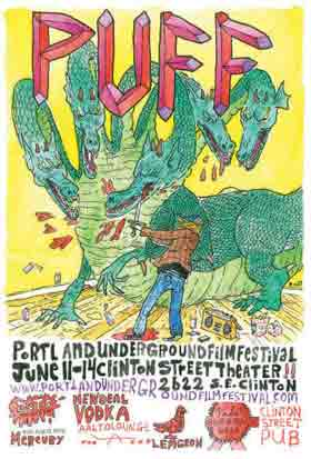 Portland Underground Film Festival poster featuring a man slaying a dragon