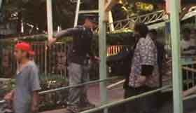 Nazi soldier orders guests off of an amusement park ride