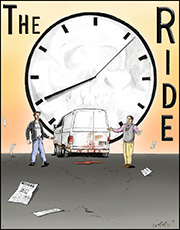 Movie poster featuring two men, a white van and a large clock