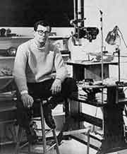 Robert Breer sitting in his animation studio