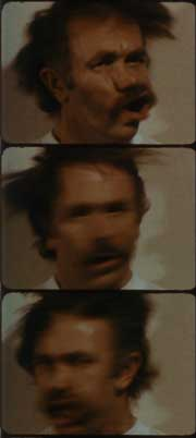 Film stills of Robert Nelson shaking his head in The Off-Handed Jape