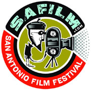Film festival logo featuring a hipster filming with a movie camera