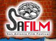 Film festival logo that looks like a movie reel with a strip of celluloid film