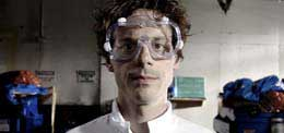 Scientist wearing goggles