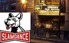 Montage of Slamdance logo and Sundance marquee